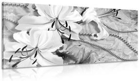 Obraz čiernobiela ľalia s perlami