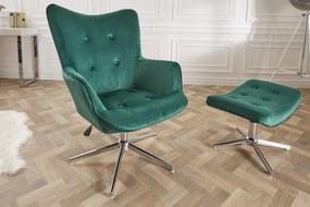 Dizajnová otočná stolička Joe - zelený zamat