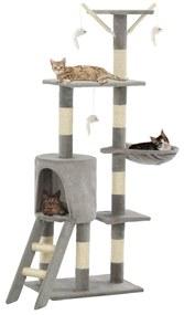 vidaXL Škrabadlo pre mačky so sisalovými stĺpikmi 138 cm sivé