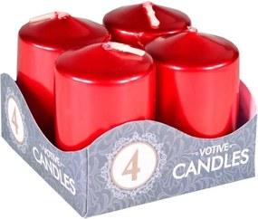 Sviečka adventná 4ks červená