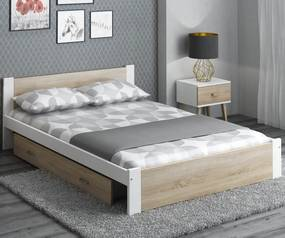 AMI nábytok Posteľ DMD3 140x200cm biela+dub sonoma