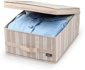 Béžový úložný box Domopak Stripes, dĺžka45 cm