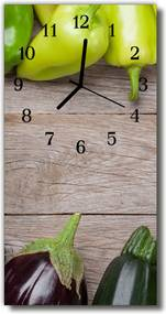 Nástenné hodiny vertikálne  Kuchyňa. Šedá zeleninová stôl