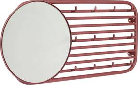 Červený nástenný vešiak s 12 háčikmi a zrkadlom Hübsch Prio