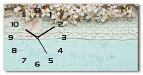 Sklenené hodiny na stenu tiché Kvety višne pl_zsp_60x30_f_80227889