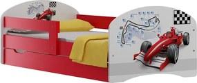 MAXMAX Detská posteľ so zásuvkami ČERVENÁ FORMULE 140x70 cm