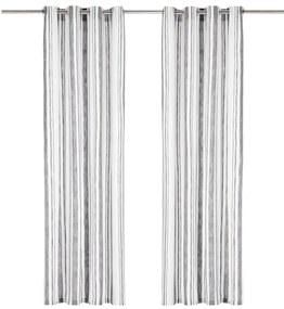 vidaXL Závesy s kovovými očkami 2 ks, bavlna 140x245 cm, sivé prúžky