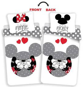 JERRY FABRICS Obliečky Mickey a Minnie love grey Bavlna, 140/200, 70/90 cm