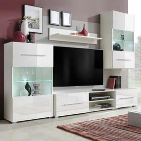 vidaXL 5-dielna obývacia/TV stena s LED osvetlením, biela