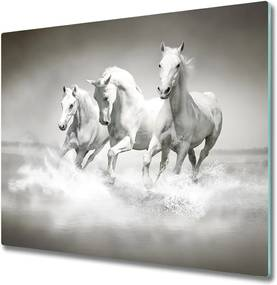 Sklenená doska na krájanie  biele kone