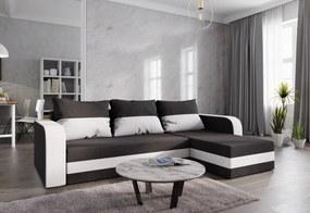 Expedo Rohová rozkládacia sedačka WELTA, 237x85x140, čierná/biela, mikrofáze04/biela