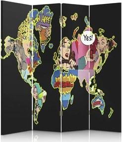 CARO Paraván - A Black Map Of The World Pop Art | štvordielny | obojstranný 145x180 cm