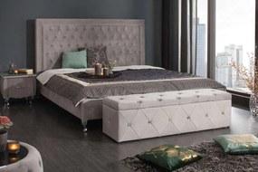 Luxusná lavica Spectacular 140 cm striebornosivý zamat