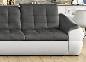 Rohová sedacia súprava Lotus Mini OTM-2F, biela ekokoža / tmavo šedá tkanina