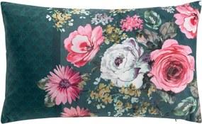 DomTextilu Krásny zelený dekoračný vankúš s kvetmi vo vintage štýle 30 x 50 cm 36083 Zelená