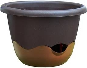 Samozavlažovací kvetináč Mareta 30 hnedá, závesný, Plastia, pr. 30 cm