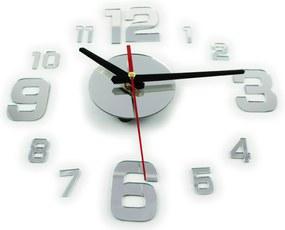 KIK Nástenné interiérové hodiny veľké čísla, samolepiaca, strieborná, KX9713_1