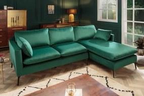 IIG -  Dizajnová rohová pohovka FAMOUS 260 cm smaragdovo zelená zamatová