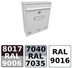 Poštová schránka DLS-H-011 s hliníkovou sklapkou, interiérové schránky / Barva schránky:Šedá RAL 7040 / Šedá RAL 7035