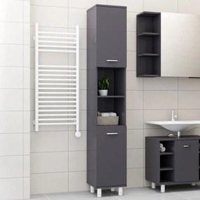vidaXL Skrinka do kúpeľne, lesklá sivá 30x30x179 cm, drevotrieska