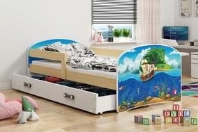 BMS Group Jednolôžková posteľ LUKI - so zásuvkou - BOROVICA