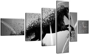 Obraz s hodinami Čiernobiely kôň – Jakub Banas 180x100cm ZP3573A_6E