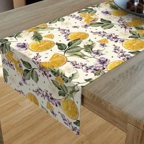 Goldea dekoračný behúň na stôl loneta - vzor pomaranče a kvety 20x120 cm