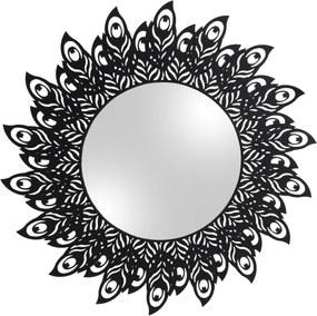 PRESENT TIME Zrkadlo s čiernym rámom Peacock Feathers