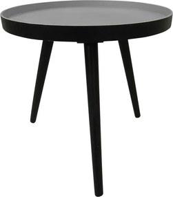 Čierny odkladací stolík WOOOD Sasha, ø 41 cm