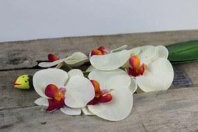 Biela umelá orchidea s listami 44cm