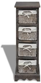 vidaXL Drevený regál so 4 prútenými košíkmi, hnedý