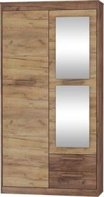 MEBLOCROSS Maximus MXS-04 2D šatníková skriňa so zrkadlom craft tobaco / craft zlatý