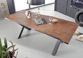 Bighome - DARKNESS Jedálenský stôl 180x100 cm - čierne nohy, hnedá, akácia
