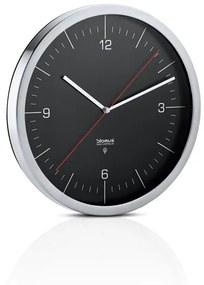Nástenné hodiny riadené rádiovým signálom CRONO P:30,5 cm H:4,5 cm z nerezu, skla a plastu v matnej nerezovej a čiernej farbe, Blomus, Nerezová oceľ, sklo, plast, P: 30,5 cm H: 4,5 cm, matná nerezová, čierna
