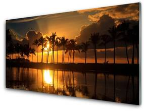 Nástenný panel Stromy slnko krajina 125x50cm