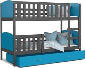 GL Dobby Grafit Color poschodová posteľ Farba: Modrá, Rozmer: 160x80
