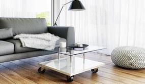 Pojazdný kávový stolík Rules - biely lesk