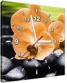 Obraz s hodinami Oranžová orchidea 30x30cm ZP1713A_1AI
