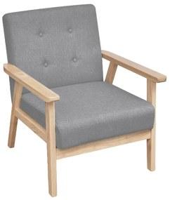 Šedé drevené retro kreslo