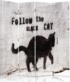 CARO Paraván - Folow The Black Cat | štvordielny | obojstranný 145x180 cm