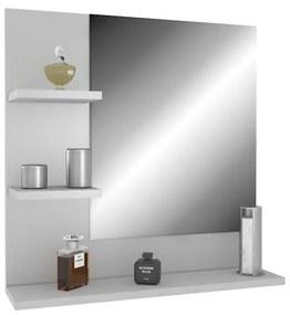 Lacné závesné zrkadlo s policami 60 x 60 cm Šedá platinová