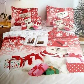 HOD Vianočné posteľné obliečky CHRISTMAS CAT 3 set 140x200cm