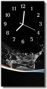 Sklenené hodiny vertikálne  Kuchyňa. kvapka vody