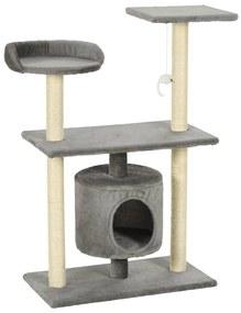 vidaXL Škrabadlo pre mačky so sisalovými stĺpikmi 95 cm, sivé