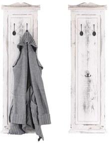 2x vešiaková stena s 3 vešiakmi ~ 109x28x3,5 cm, antik biela