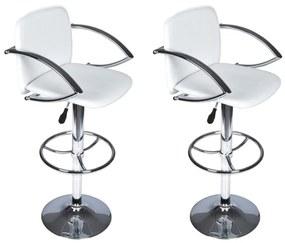 Barové stoličky, 2 ks, biele