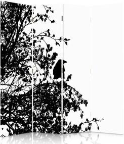 CARO Paraván - Black And White Bird   štvordielny   obojstranný 145x180 cm