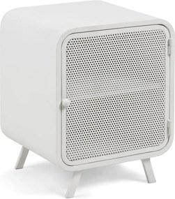 Biely kovový nočný stolík La Forma Wyatt, 42 × 38 cm