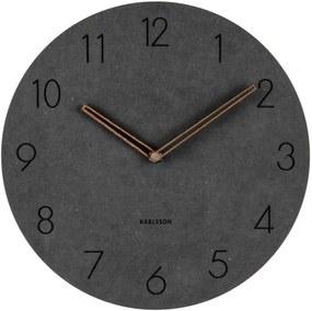Čierne nástenné drevené hodiny Karlsson Dura, ⌀ 29 cm