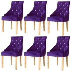 vidaXL Jedálenské stoličky 6 ks, fialové, dubový masív a zamat